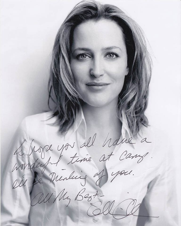 Portrait photo of gillian anderson with her message over the top and signed