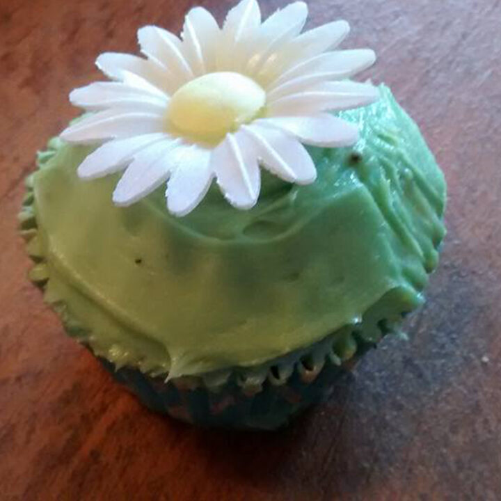 A cupcake with the flowers